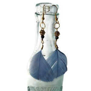 Women's Dusty Blue Feather & Gold Dangle Earrings